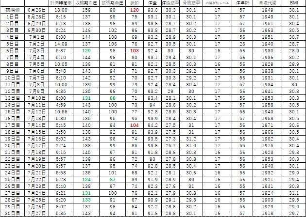 ダイエットの推移Excelデータ